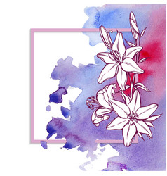 Card watercolor and flowers vector