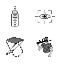 Child fishing and other monochrome icon in vector