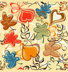 Fall leaves pattern in bright colors vector