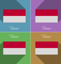 Flags indonesia set of colors flat design and long vector