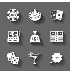 Gambling icons set isolated contrast shadows vector image