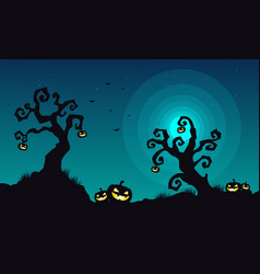 Halloween scary landscape at night vector