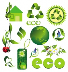 icon set eco bio vector image vector image