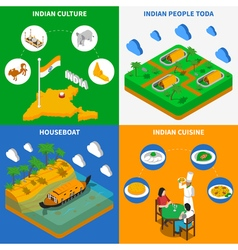 Indian culture 4 isometric icons square vector