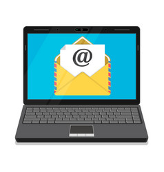 Laptop with envelope and open email on screen vector