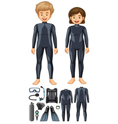 Man and woman with different scuba diving gears vector