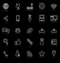 Network line icons with reflect on black vector image vector image