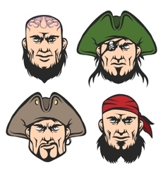 Pirate mascot faces set vector