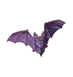 Scary flying halloween vampire bat isolated vector