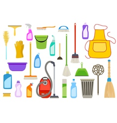 Set of cleaning supplies vector image vector image