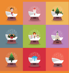 Set of diferent snowglobes vector