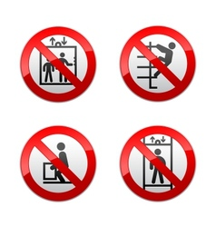 set prohibited signs - elevator vector image