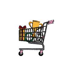 Shopping cart full of social media items vector