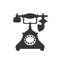 silhouette of antique retro telephone vector image
