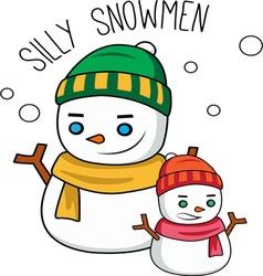 Silly snowmen vector