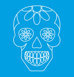 Sugar skull flowers on the skull icon outline vector