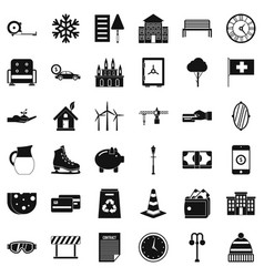 Villa for rest icons set simple style vector