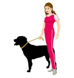 Woman and a dog vector