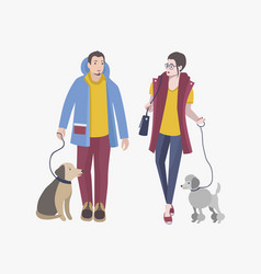 Young guy and girl walking with dogs colorful vector