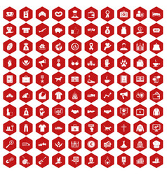 100 charity icons hexagon red vector