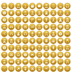 100 headhunter icons set gold vector
