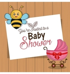 Invitation baby shower card with bee and carriage vector