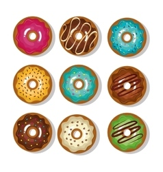 Donuts collection dessert isolated graphic vector