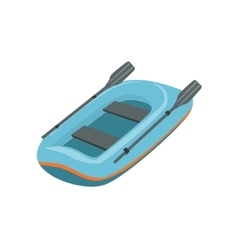 Blue inflatable dinghy type of boat icon vector