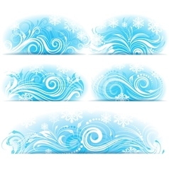 Banners of stylized frosty ornament vector
