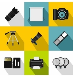 Photography icons set flat style vector