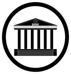Bank building black silhouette icon vector