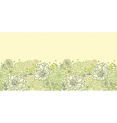 Green succulent plants horizontal seamless pattern vector