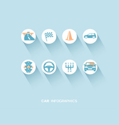 Car infographic with flat icons vector
