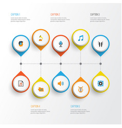 Music flat icons set collection of audio tone vector