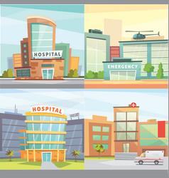 Set hospital building cartoon modern vector