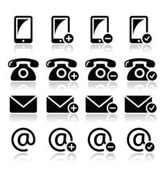 Contact icons set - mobile phone email envelope vector image