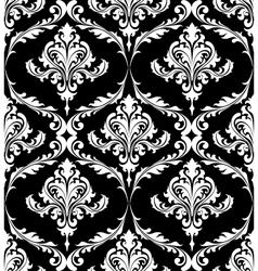 Black and white vintage damask pattern vector image