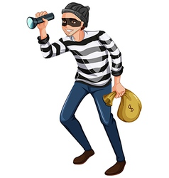A robber with a flashlight and a bag vector