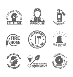 Firefighting label set vector
