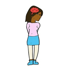 Comic cartoon brainy woman vector