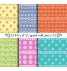 Set of seamless floral striped patterns vector