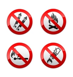 Set prohibited signs - fire vector
