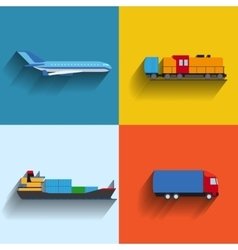 Transportation concept flat icons vector