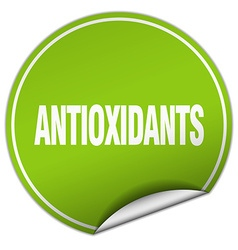 Antioxidants round green sticker isolated on white vector