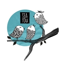 Cute birds on the tree speaking about the sea trip vector
