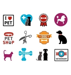 pet veterinary icons vector image