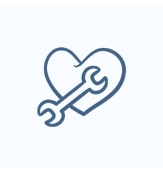 Heart with wrench sketch icon vector image