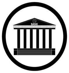 Bank building black silhouette icon vector image vector image