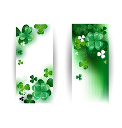 Banners with green shamrock vector