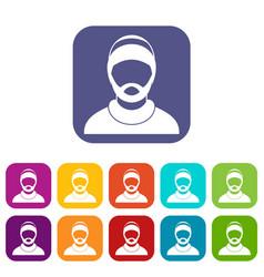 Bearded man avatar icons set vector